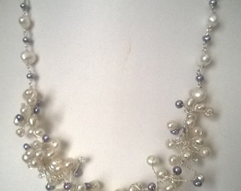 Freshwater Pearls and Swarovski Crystals - Bridal Necklace - Could be Your Something Blue!