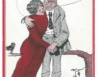 Vintage 1914 Comic Romantic Couple Postcard