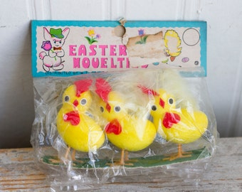 Vintage Easter Chick, Retro Easter Novelties Baby Chicken Ornaments, Spring Wreath Supply, Kitsch Chicks 80's