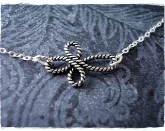Silver Sideways Rope Infinity Cross Necklace - Sterling Silver Rope Infinity Cross Charm on a Sterling Silver Cable Chain or Charm Only