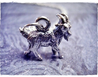 Silver Goat Necklace - Silver Pewter Goat Charm on a Delicate Silver Plated Cable Chain or Charm Only