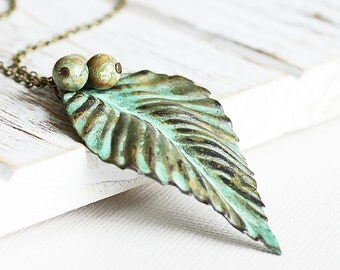 Large Leaf Necklace, Verdigris Patina Pendant on Antiqued Brass Chain w/ Rhyolite Stones, Green Leaf Pendant, Long Necklace, Nature Jewelry