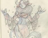 Madame Odine Original Rotten Faun Graphite Illustration
