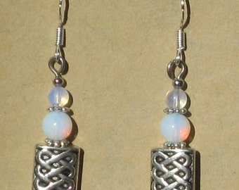 Celtic Knot Earring with Opalite Beads
