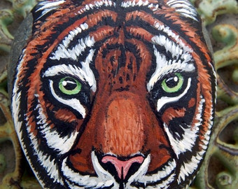 TIGER Hand Painted Stones Rock Art Animals Spirit Guide Wildlife Artwork Bengal Tigers Stone ART Paperweight Nature Paintings Big Cat Gifts