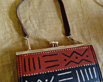 Tribal Immunity Hand Painted Vegan Leather Assata 3-way Clasp Clutch Crossbody Handbag