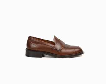 Vintage Men's Penny Loafers / Men's Brown Leather Shoes / Casual Dress Shoes / Cole Haan City Leather Loafers - Men's 8