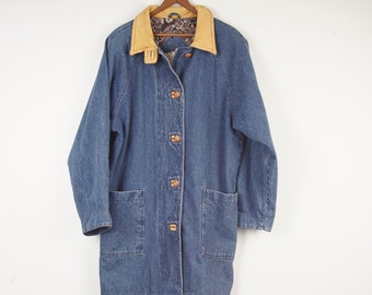Long Denim and Leather Chore Coat Jacket Warm Flannel Fleece Lined Duster 80s 90s Vintage Oversize Trench Barn Coat Men 46 chest Izzi