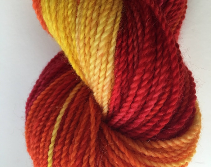 Crazy Orange Yellow Red Variegated Alpaca Merino Yarn