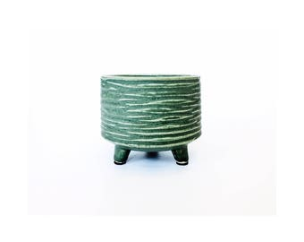 Mid Century Green Pottery Planter