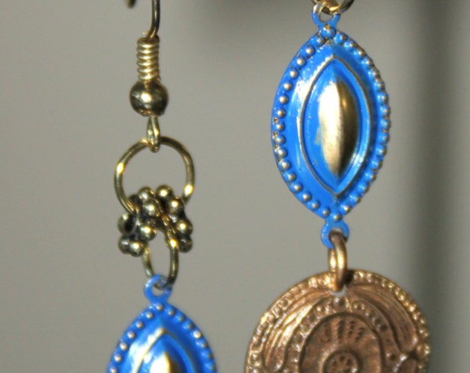 Blue Enameled Stamped Brass Eye Charms  with Fish Hook Ear Wires -  Dangle Earrings