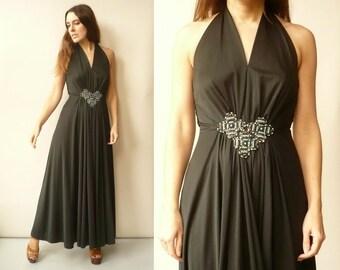 1970's Vintage Grecian Draped Jersey Boho Maxi Dress Size Small