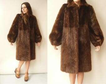 1940's 1950's Vintage Dark Brown 3/4 Length Faux Fur Princess Swing Coat Size Medium