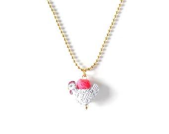 Animal Necklace for Little Girls, Farm Hen, Charm Necklace, giddyupandgrow