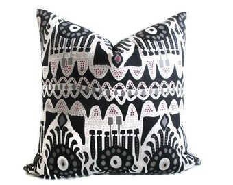 Pillow Cover Modern Tribal Both Sides Zipper Black White Grey Red Dots