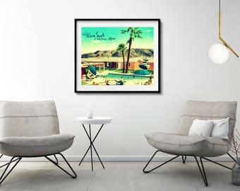 Mid Century Modern Art Motel Print PALM SPRINGS photograph vintage California art mcm Warm Sands Swimming Pool Art  Palm Trees Photograph