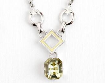 Vintage Art Deco Pale Green Enamel & Glass Necklace - 1930s Silver Tone Glass Stone Lavalier Fleur de Lis Costume Jewelry