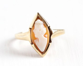 Sale - Vintage 10k Yellow Gold Marquise Cameo Ring - Art Deco 1930s Size 7 Carved Shell Fine Lady Silhouette Navette House of Kraus Jewelry