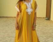 15% OFF WINTER SALE // Resort Caftan Bedoin Style- Yellow, Moroccan kaftan, caftan, bohemian wear, resort wear, beach cover up