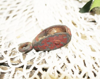 Vintage Industrial Small Pulley, Red, Iron, Warehouse Pulley Block & Tackle, Iron Chain Pulley    -  A