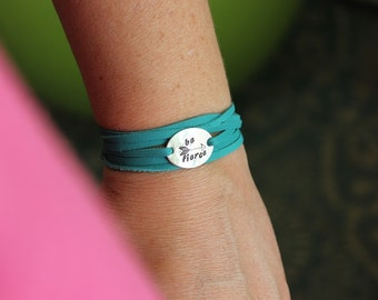 be fierce sterling silver leather wrap quote bracelet, inspirational motivational gift for her, follow your arrow stacking trendy bracelet