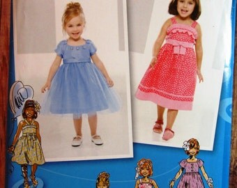 Little Girls Dress in Two Lengths with Bodice and Trim Variations Sizes 4 5 6 7 8 Simplicity Pattern 1814 UNCUT