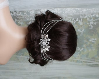 Bridal Headpiece -   Wedding Headpiece - Draped Hair Chain - Vintage Bridal Hair Accessory - Downton Abbey - Vintage Wedding Dress