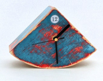 Table Blue Clock, Desk Clock Unique gift, Wood Desk Clock Blue Red,  Blue sky clock, for home,