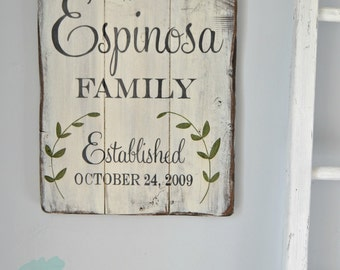 Family established reclaimed wood sign with leaves