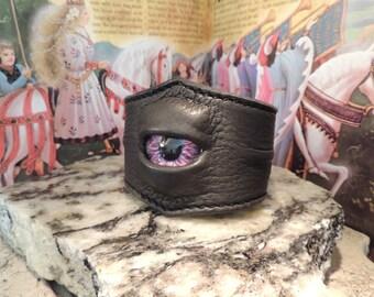 Single Wrist Cuff-XLarge(Grey leather with Purple eye)