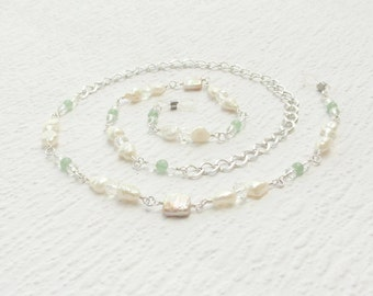 Freshwater Pearl Eyeglass Chain with Silver and Green Aventurine, Genuine Pearl Lanyard, White Pearl Glasses Chain, Gift for Mothers Day