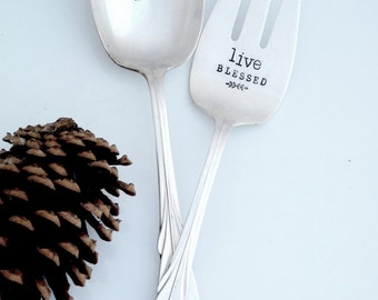 Pray OFTEN, Live BLESSED  Hand Stamped Vintage Hostess Gift. Vintange Serving Fork, Spoon. The ORIGINAL Design by Sycamore Hill