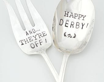 READY TO SHIP And They're Off ~ Happy Derby Hand Stamped Vintage Silverware. Hostess Serving  Fork and Spoon Serving Set. Derby Party Gift.