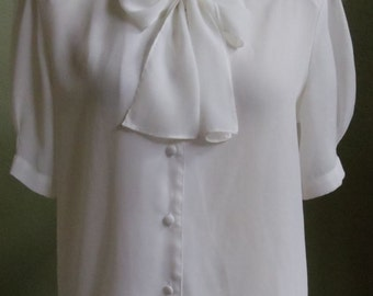 "Vintage Semi-Sheer Cream Short Sleeved Blouse with a Front Neckline Bow Bust 42"" Waist 41"""