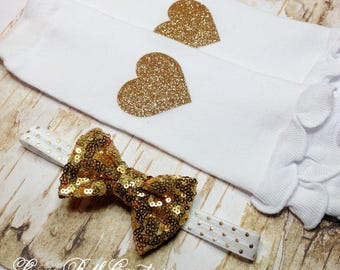 Baby Leggings, Gold Heart Legwarmer and Headband Set, Baby Headband, Gold Sequin Headband, Newborn Headband, Leg Warmer Set, Baby Gift
