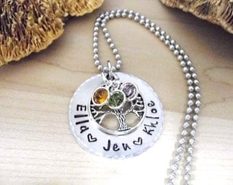 Family Tree Jewelry, Mother's Day Jewelry, Personalized Jewelry, Washer Necklace, Personalized Jewelry, 1 to 4 Names