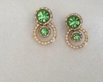 Beautiful green clip on vintage earrings