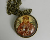 Catholic  St Francis Assisi Glass Tile Pendant Necklace Catholic Animal Patron Saint Jewelry