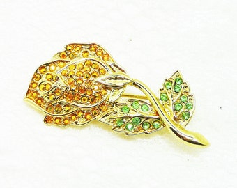 Yellow Rose Rhinestone Brooch - Designer Signed Danecraft - 1980's Vintage Green Rhinestones Long Stem Flower - Great Gift for Her