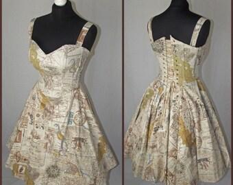 Treasure map print corset swing dress MADE TO ORDER/ measure.