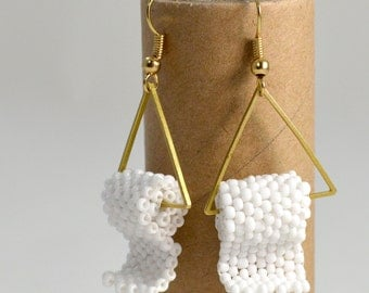 Funny Gift for Her - Toilet Paper Earrings - Funny Gift - White and Gold Tone