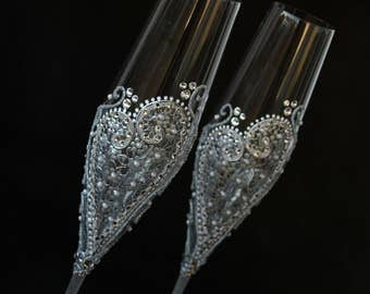 Champagne Flute, Wedding Glasses, Champagne Glasses, Silver wedding, Hand Painted, Set of 2