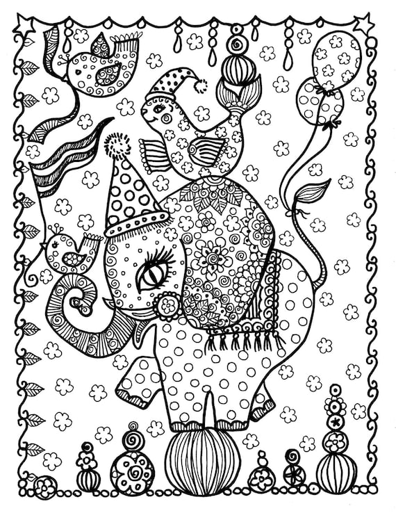 Unicorn Kleurplaat Volwassenen Circus Elephant Coloring Page Instant Download Digi Stamp