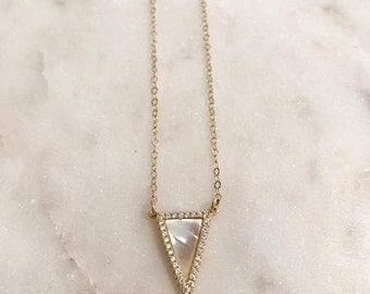 Mother of Pearl Triangle Necklace-triangle necklace, dainty necklace, gold layering necklace, gold triangle necklace, pearl necklace