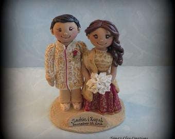 Wedding Cake Topper, Custom Cake Topper, Bride and Groom, Asian, Indian, Saree, Ethnic, Wedding Cake Topper, Personalized, Keepsake