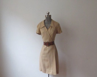 Vintage '60s Sue Brett Khaki Linen Wrap Dress, Small