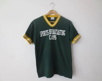 Vintage '70s/'80s Gator Athletics V-Neck Baseball T-Shirt, Sports Broadcasting Camps, Adult Small