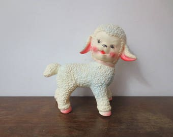 Vintage '60s Sun Rubber Co. Lamb, Hot Pink & Powder Blue w/ Glass Marble Hooves, 1961