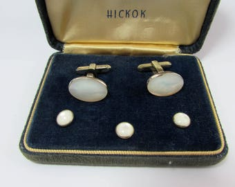 Vintage Hickok MOP Cufflinks & Shirt Studs in original velvet box - 1940s