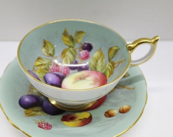 Vintage Aynsley Footed Cup & Saucer Set - soft aqua color with fruit and nut motif with gold trim and scalloped edges